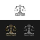 Kancelaria prawna logowie ustawiający z ważą sprawiedliwości ilustracja Wektorowy rocznika adwokat, adwokat etykietki, jurydyczne ilustracji
