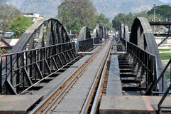 Kanchaburi, Thailand: River Kwai Bridge. View looking across the railway Bridge on the River Kwai, made famous in David Lean's classic 1957 film of the same name royalty free stock photography