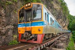 Train rides on Burma railway in Kanchanaburi province, Thailand royalty free stock photography