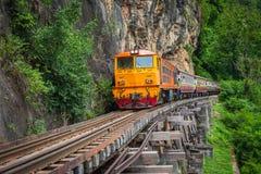 Train rides on Burma railway in Kanchanaburi province, Thailand stock photos