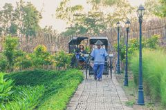 KANCHANABURI, TAILÂNDIA 10 DE DEZEMBRO: Carros de madeira velhos que esperam Fotografia de Stock