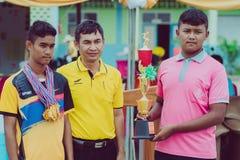 KANCHANABURI TAILANDIA - 2 DE AGOSTO: La ceremonia de entrega de los premios del sch foto de archivo libre de regalías