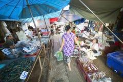 KANCHANABURI, TAILANDIA - FEBRERO DE 2014: Tren que pasa a través de mercado plegable del paraguas Fotos de archivo