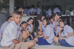 KANCHANABURI TAILANDIA - 21 GIUGNO: Confede non identificato degli studenti Immagine Stock