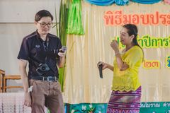 KANCHANABURI TAILANDIA - 23 MARZO: Provid della scuola di Wat Krangthong Fotografia Stock