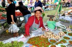 Kanchanaburi, Thaïlande : Constructeur de femme au marché Photographie stock libre de droits