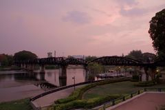 Bridge over The River Kwai after sunset - Kanchanaburi, Thailand royalty free stock photo