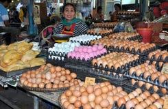 Kanchanaburi, Thailand: Central Market Egg Seller Stock Image
