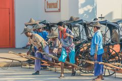 KANCHANABURI,THAILAND-DECEMBER 10 : Old wooden carts Waiting for. Tourists on December 10,2017 at Mallika City historic site in Kanchanaburi, Thailand royalty free stock photography