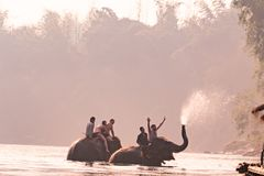KANCHANABURI, THAILAND - FEB, 2018 : tourism ride the elephant to take a shower at Kwai river, travel and adventure activity in Th Royalty Free Stock Photo