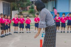 KANCHANABURI THAILAND - FEBRUARY 23 : Unidentified kids exercise. In the morning before class on february 23,2018 at Wat Krang Thong School in Kanchanaburi Royalty Free Stock Images