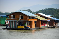 Kanchanaburi, Thailand: Houseboats on River Stock Image