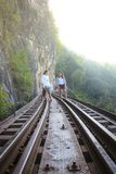 Women visit the Death Railway historical World War 2. KANCHANABURI, THAILAND - JANUARY 14: Women visit the Death Railway historical World War 2. on January 14 royalty free stock photos