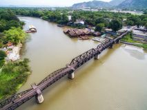 Aerial view of Bridge over River Kwai in Kanchanaburi, Thailand. Kanchanaburi, Thailand - June 13, 2017: Aerial view of Bridge over River Kwai in Kanchanaburi Stock Image