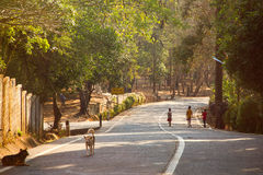 Kanchanaburi, Thailand - June 3, 2015: Children walk to go home on a winding road in the morning. Stock Image