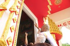 KANCHANABURI, THAILAND - JUNE 26: The monk ordained in the temple on June 26, 2017 in Kanchanaburi, Thailand. The ordination of mo stock photos