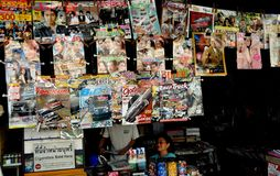 Kanchanaburi, Thailand: Magazines at News Stand Royalty Free Stock Photos