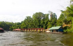 Houses and raft on the river Kwai. Royalty Free Stock Image