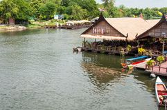 Kanchanaburi, Thailand - May 23, 2014: View over River Kwai, Kanchanaburi province, Thailand. Royalty Free Stock Photos