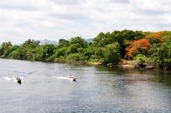 Kanchanaburi, Thailand - May 23, 2014: View over River Kwai, Kanchanaburi province, Thailand. Royalty Free Stock Photo