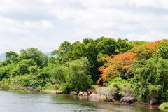 Kanchanaburi, Thailand - May 23, 2014: View over River Kwai, Kanchanaburi province, Thailand. Royalty Free Stock Images
