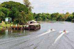 Kanchanaburi, Thailand - May 23, 2014: View over River Kwai, Kanchanaburi province, Thailand. Royalty Free Stock Photography