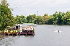 Kanchanaburi, Thailand - May 23, 2014: View over River Kwai, Kanchanaburi province, Thailand. Royalty Free Stock Images