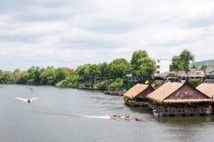 Kanchanaburi, Thailand - May 23, 2014: View over River Kwai, Kanchanaburi province, Thailand. Stock Image