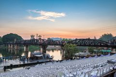 Kanchanaburi,Thailand - Nov 29 2016 : Preparing annual event and tourist visiting history bridge world war II. In evening stock images