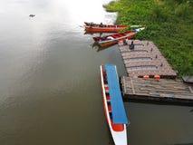 KANCHANABURI, THAILAND - NOVEMBER 26: long tail boat with uniden Stock Photo