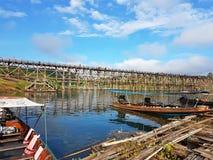 KANCHANABURI, THAILAND - NOVEMBER 25: wooden raft near the old w Stock Photo