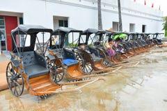 Kanchanaburi - Thailand - Oct 5, 2018: Row of Rickshaw in Mallika ใ. Kanchanaburi - Thailand - Oct 5, 2018: Row of Rickshaw in Mallika City royalty free stock photos