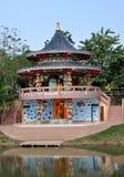 Kanchanaburi, Thailand: Temple. The circular Qing Shou Si Chinese temple Royalty Free Stock Photos