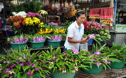 Kanchanaburi, Thailand: Woman Selling Orchids Royalty Free Stock Photo
