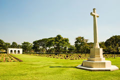 Kanchanaburi war cemetery Cross Royalty Free Stock Image