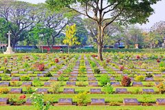 Kanchanaburi War Cemetery, Kanchanaburi, Thailand. Kanchanaburi War Cemetery is the main prisoner of war cemetery for victims of Japanese imprisonment while royalty free stock image