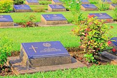 Kanchanaburi War Cemetery, Kanchanaburi, Thailand. Kanchanaburi War Cemetery is the main prisoner of war cemetery for victims of Japanese imprisonment while royalty free stock images