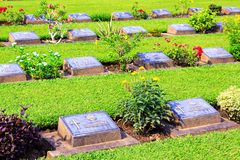 Kanchanaburi War Cemetery, Kanchanaburi, Thailand. Kanchanaburi War Cemetery is the main prisoner of war cemetery for victims of Japanese imprisonment while royalty free stock photography