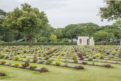 Kanchanaburi War Cemetery, Thailand. The Kanchanaburi War Cemetery Thailand . is the Prisoner of world War 2nd royalty free stock images