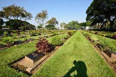 Kanchanaburi War Cemetery, Thailand. The Kanchanaburi War Cemetery (known locally as the Don-Rak War Cemetery) is the main Prisoner of War (POW) cemetery royalty free stock photo