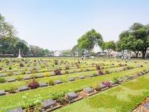 Kanchanaburi Wojenny cmentarz w Tajlandia Fotografia Royalty Free