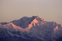 Kanchenjunga峰顶它日出 库存图片