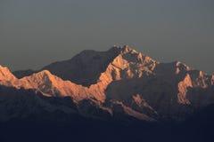 Kanchenjunga峰顶它日出 免版税库存图片