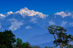 Kanchenjunga mountain peak, Sikkim. Beautiful view of Kanchenjunga mountain peak in the morning, Himalayan mountain range, Sikkim, India Stock Photo