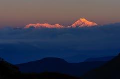 Kanchenjunga mountain peak, Sikkim. Magnificent view of Gold coloured Kanchenjunga mountain range in dawn, Himalayan mountain range, Sikkim, India Stock Photos