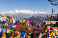 Kanchenjunga Mountain and prayer flags Royalty Free Stock Photography