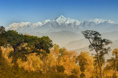 Kanchenjunga mountain range , Himalayan mountain in backdrop, Sikkim Stock Images