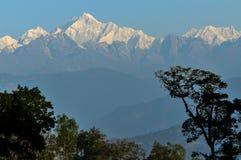 Kanchenjunga mountain range, Sikkim. Kanchenjunga mountain range in the morning, view from Silerygaon Village, Sikkim Royalty Free Stock Photos