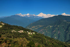 Kanchenjunga range from Gangtok. Icy range of Mount Kanchenjunga in the Himalayas as viewed from Tashi viewpoint in Gangtok, Sikkim Stock Image