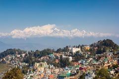 Kanchenjunga widok od Darjeeling w ładnej pogodzie, India obrazy royalty free